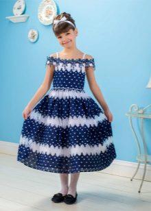 Vestido de verão para meninas em estilo náutico