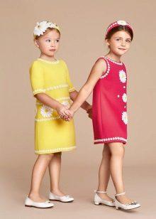 Verão vestido reto para meninas 5-8 anos