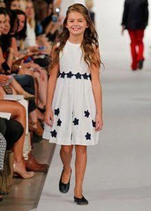 Vestido de verão a-silhueta para meninas de 5 a 8 anos