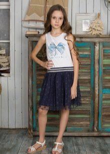 Vestido de verão para meninas 5-8 anos branco-azul