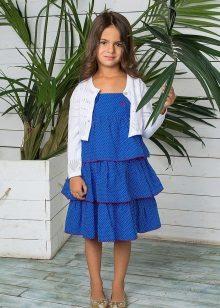 Vestido de verão elegante multi-camadas para meninas