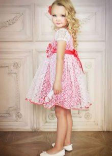 Vestido elegante de verão com renda para meninas