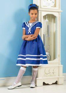 Vestido azul de verão para meninas