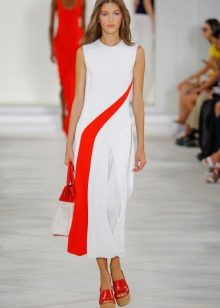 Fashionable white and red dress season spring-summer 2016