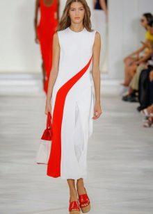 เดรสแฟชั่นสีขาวและสีแดงฤดูใบไม้ผลิฤดูร้อนปี 2559