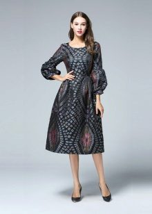 Fashionable dress in the style of the new bow of the autumn-winter 2016 season
