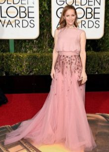 Módní dlouhé růžové šaty 2016