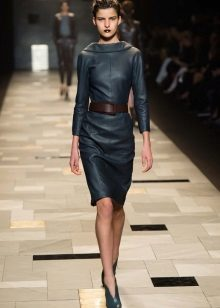 Fashionable leather dress fall-winter 2016