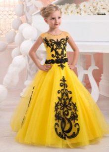 Vestido elegante para meninas amarelo