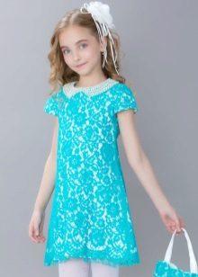 Vestido elegante para a menina de 10-12 anos direto lacy