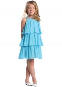 Vestido de verão elegante para a menina com babados