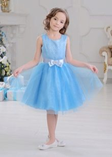 Elegante vestido azul fofo para meninas