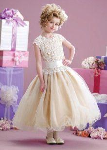 Elegante vestido fofo com cintura baixa para menina