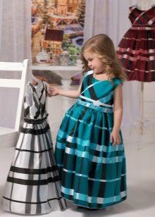 Vestido xadrez fofo elegante para meninas