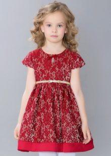 Vestido elegante para a menina vermelha lacy
