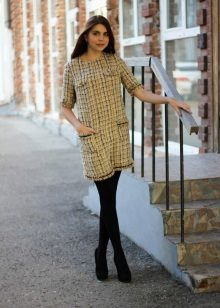 tweed ruudullinen mini-mekko