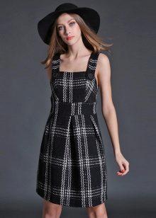 tweed-ruudullinen mekko