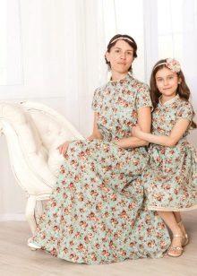 Poplin-mekot äidille ja tyttärelle