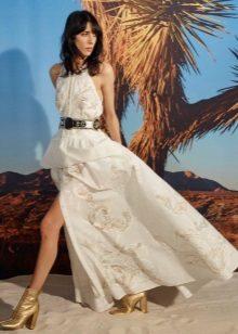 Yarık beyaz elbise botları