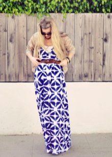 beyaz-mavi elbise kemer