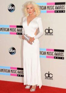 Beyaz uzun elbise gümüş debriyaj