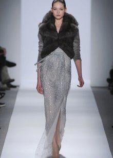Fur vest to a long dress