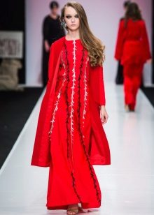 Red coat to long dress