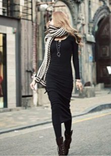scarf and shoes to a long dress