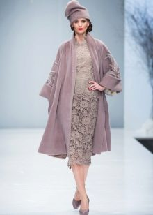Coat in tone to midi lace lace