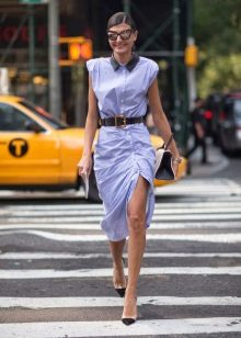 Belt to business shirt dress