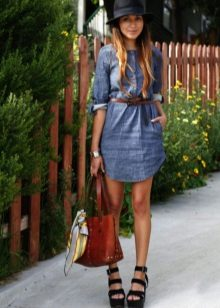 Sandals for denim shirt dress