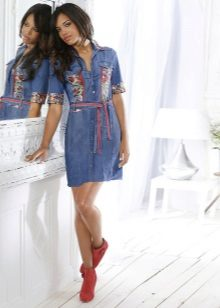 Boots for denim shirt dress