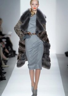 Fur coat to gray dress