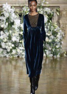 Boots to a blue dress