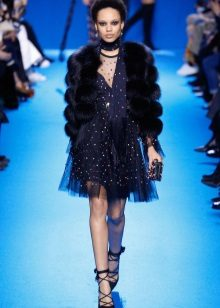 Fur coat to blue dress