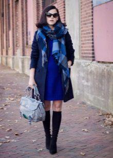 Coat to blue dress
