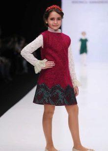 Vestido de escola para meninas vermelho