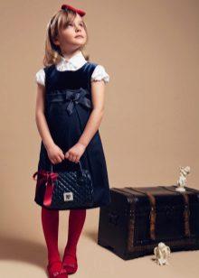 Vestido de escola para meninas com cintura alta