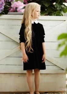 Vestido preto escola para meninas joelho