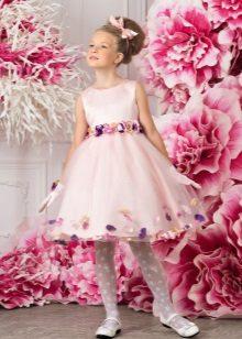 Vestido de formatura rosa curto para o jardim de infância