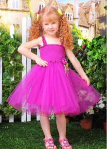 Vestido de formatura roxo curto para jardim de infância
