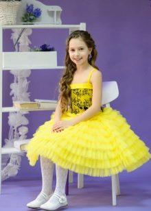 Vestido de formatura no jardim de infância curto amarelo
