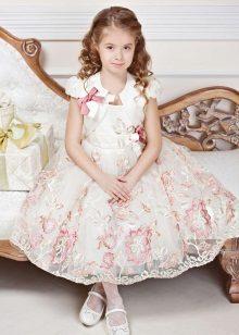 Vestido de formatura com estampa branca para jardim de infância
