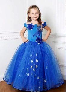 Vestido de formatura azul longo ao jardim de infância
