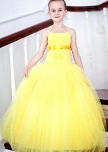Vestido de formatura no jardim de infância amarelo para o chão