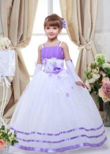 Vestido de formatura branco e roxo para o jardim de infância