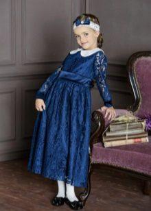 Vestido de formatura em renda azul do jardim de infância
