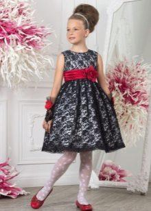 Vestido de baile de renda preta ao jardim de infância