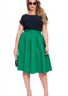 Faldilla midi completa de color verd per a dones obeses