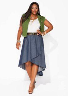 Faldilla abric asimètrica per a dones obeses
